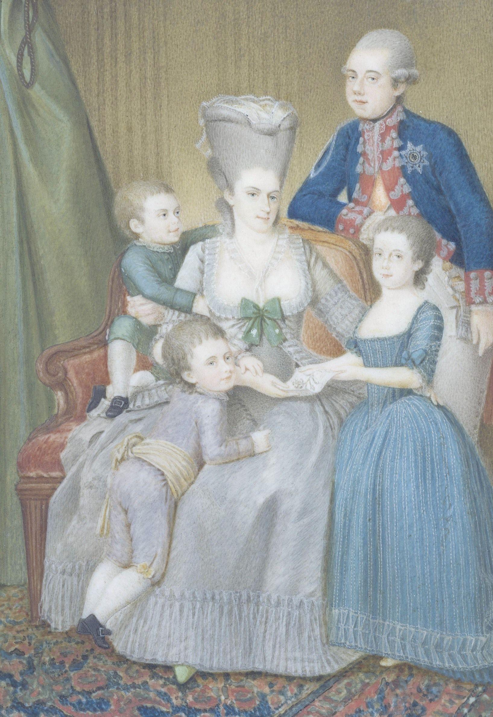 Prins Willem V met zijn echtgenote Wilhelmina van Pruisen en hun kinderen Louise, Willem (de latere koning Willem I) en als jongste Frederik. Miniatuur door Pieter le Sage (1779); coll. Rijksmuseum, Amsterdam