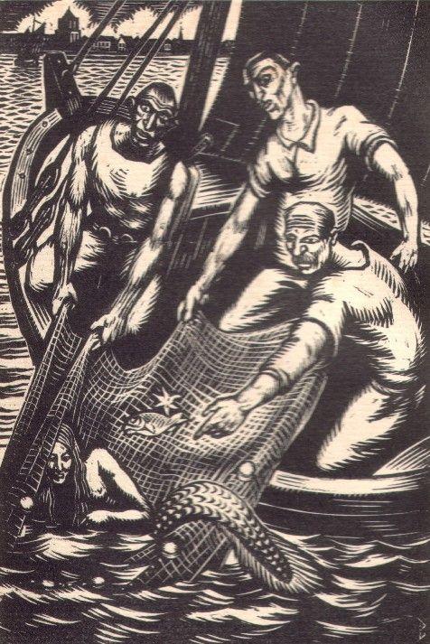 Vangst van de zeemeermin door de vissers van Westenschouwen. (N.J.B. Bulder, ca. 1930)