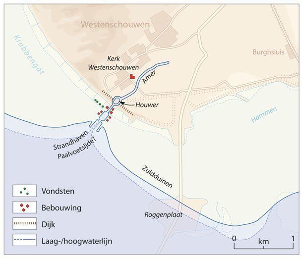 Reconstructie van de kust en de haven van Westenschouwen 1400-1500, met veronderstelde bebouwing, havengeul en spuikom of houwer. (UvA Kaartenmakers, Castricum; Beekman 2007)