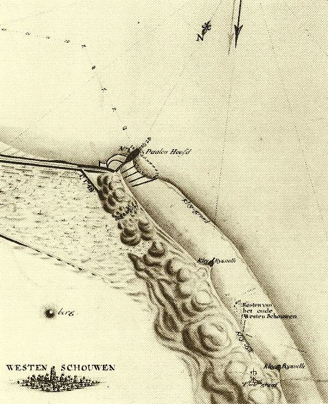 Kaart van De Feijter uit 1805 met 'resten van het oude Westenschouwen' op het strand en landinwaarts de toren, die in 1845/46 zou worden afgebroken. (Nationaal Archief)