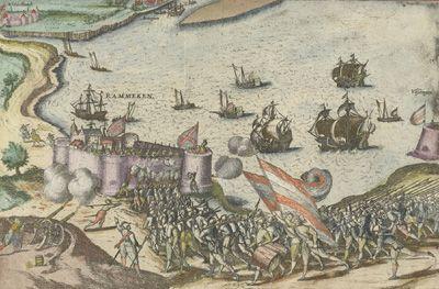 Op 5 augustus 1573 werd Fort Rammekens ingenomen door een leger van Vlissingers en Verenaren. Schilderij door Frans Hogenberg. (Rijksmuseum)