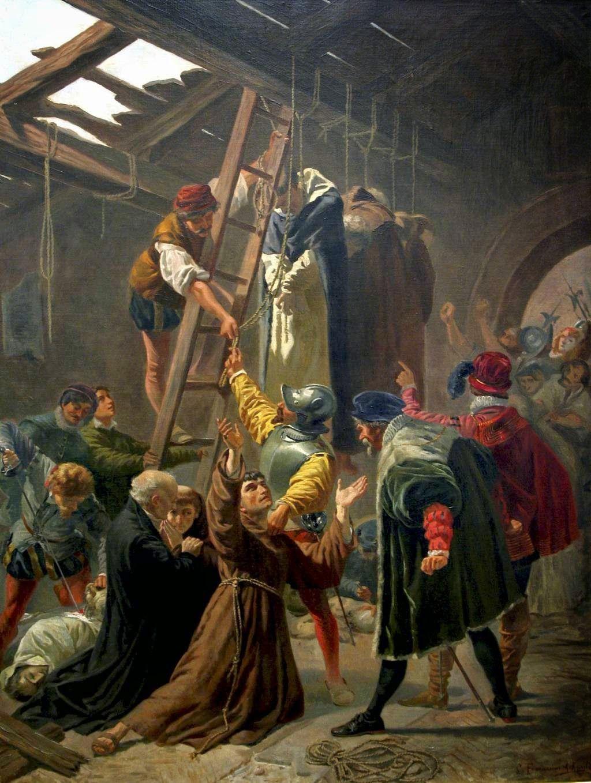 De Martelaren van Gorcum. Schilderij door Cesare Fracassini (1838-1868). (Vaticaan)