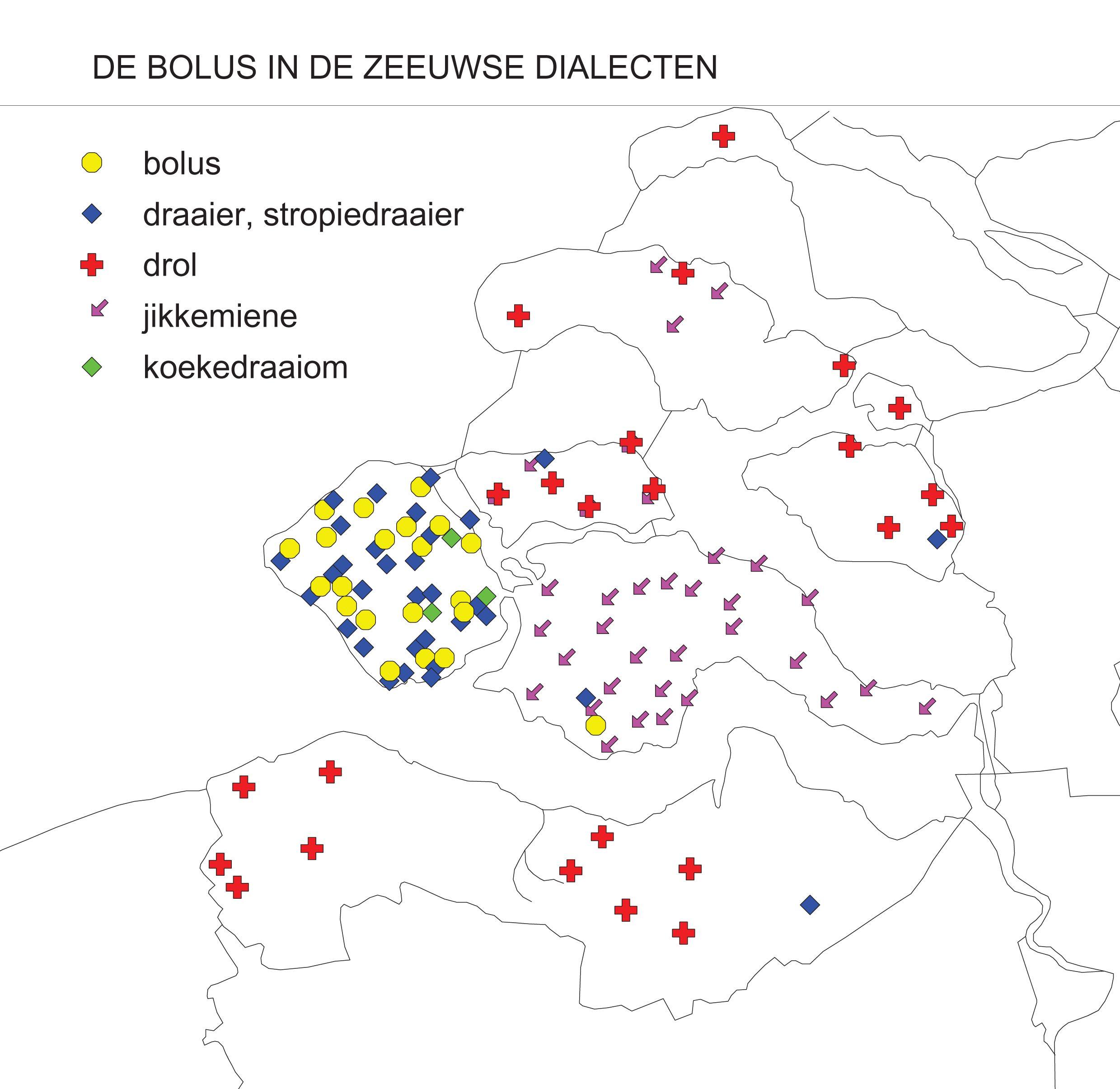 Verspreiding van de Zeeuwse dialectwoorden voor de bolus op basis van gegevens uit het Woordenboek der Zeeuwse Dialecten. (SCEZ/Vakgroep Taalkunde, afdeling Nederlands (UGent))