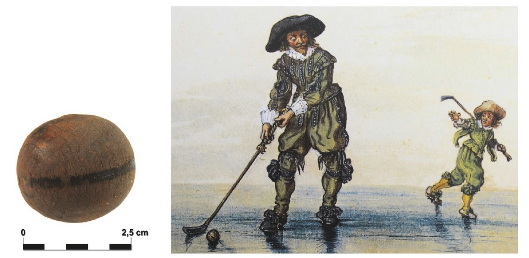 Houten kolfbal en een prent van het kolfspel door Adriaen van de Venne, 1626 (afbeelding Archeodienst)