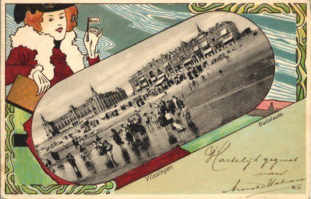 Ansichtkaart uit 1895 met een zwart-wit afbeelding van het Badstrand en Boulevard Evertsen met Grand Hotel des Bains. (Gemeentearchief Vlissingen)