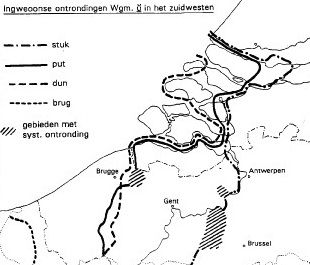 Ingveoonse ontronding: ten westen stik, pit, dinne, brigge / ten oosten stuk, put, dun, brug (kaart J.Taeldeman, Taal en Tongval 46)
