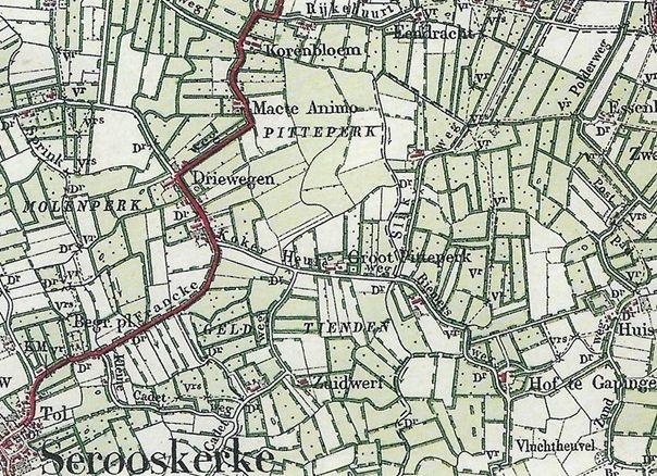 Kaartje van een deel van Walcheren, situatie in 1909. (Historische Atlas Zeeland)