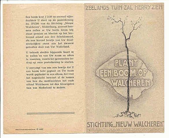 Brochure 'Plant een boom op Walcheren', die verscheen om geld in te zamelen voor de herbeplanting van Walcheren.