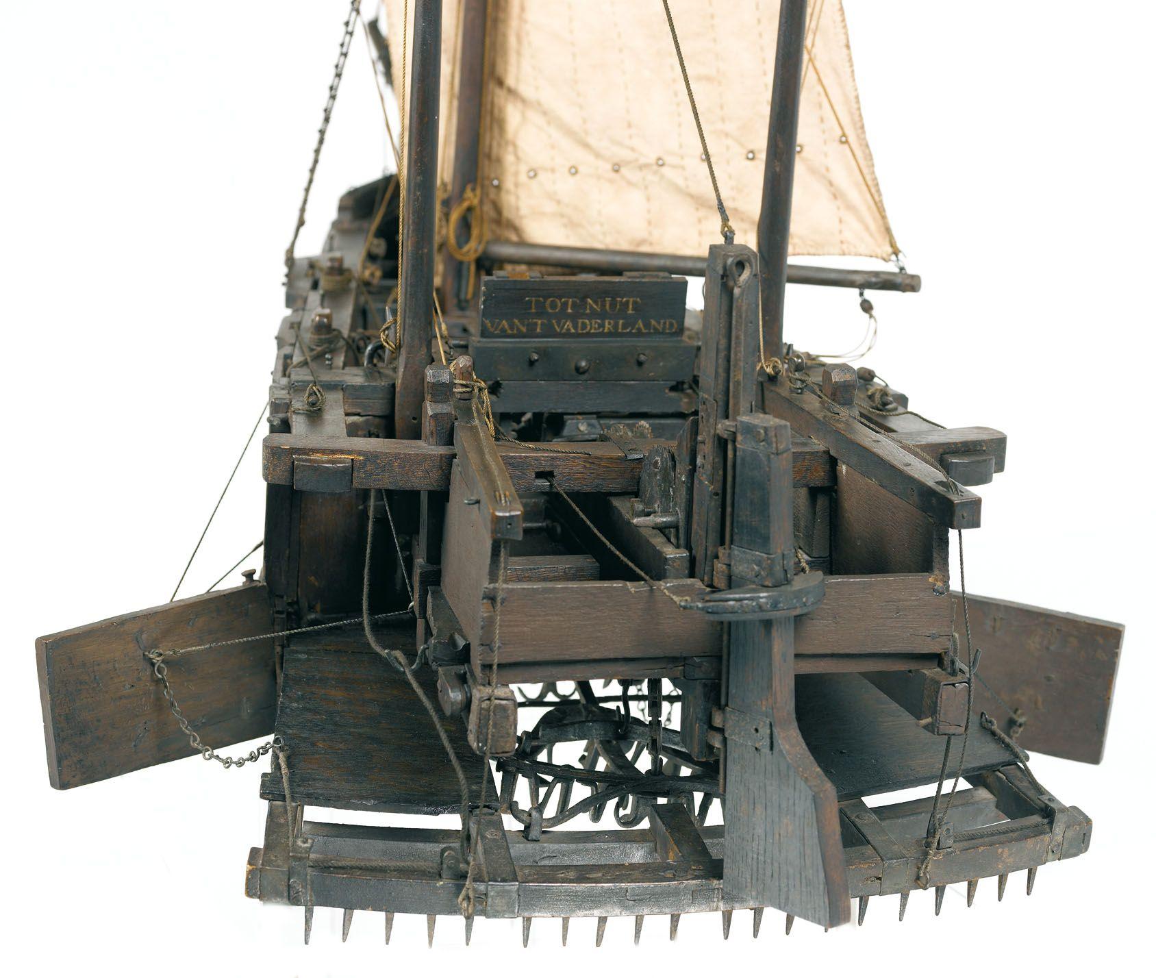 Scheepsmodel Krabbelaar detail; Museum Veere; datering: eind 18e eeuw; herkomst: Stedelijke Collectie Veere. (Ivo Wennekes)