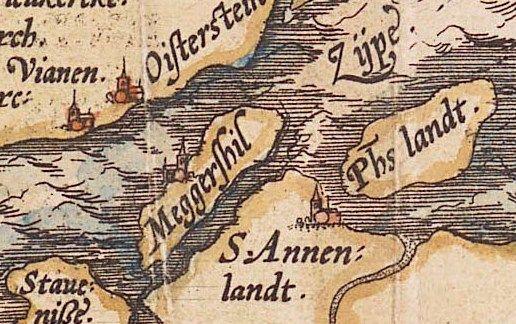 Op de kaart van Jacob van Deventer uit 1546 is het dorp op het eiland Moggershil (hier Meggershil) al op de rand van de kustlijn weergegeven. (Zelandia Illustrata I-0058).