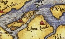 Op een uitsnede uit de kaart van Zeeland van Christiaan Sgrooten uit 1573 is Moggershil nog opgetekend op een eiland tussen Stavenisse en Sint-Annaland.