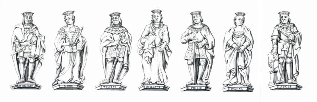 De heren en vrouwen Van Borsele en Van Bourgondië-Beveren. (Zeeuws Archief, KZGW, ZI-II-1063 A t/m G)