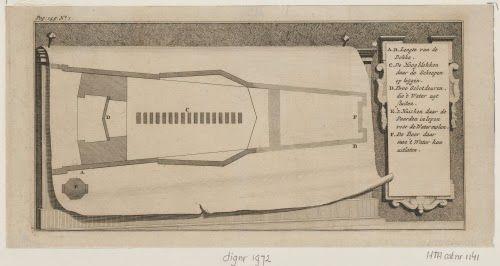 Plattegrond van het Dok van Perry circa 1700. (M. Gargon, Walcherse Arkadia II, 1717, 142)