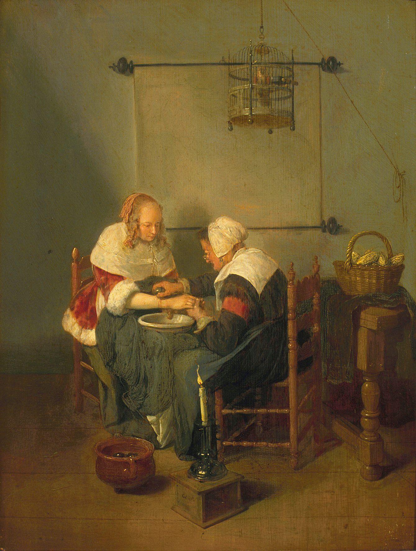 'De Kopster'. Schilderij van Quirijn van Brekelenkam (ca. 1620-1668 ); coll. Mauritshuis, Den Haag.