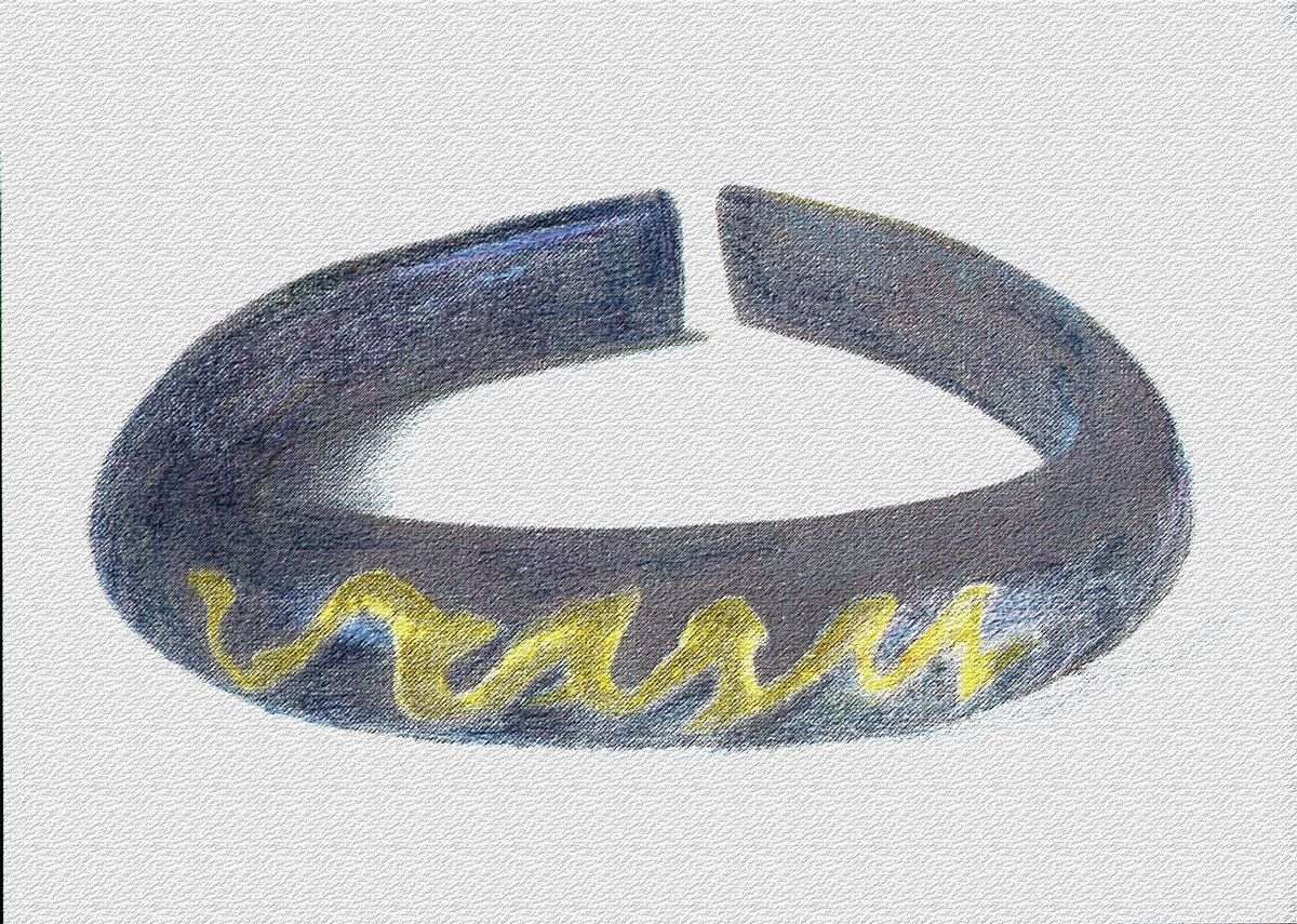 De glazen La Tène-armband uit Tholen (tekening auteur).