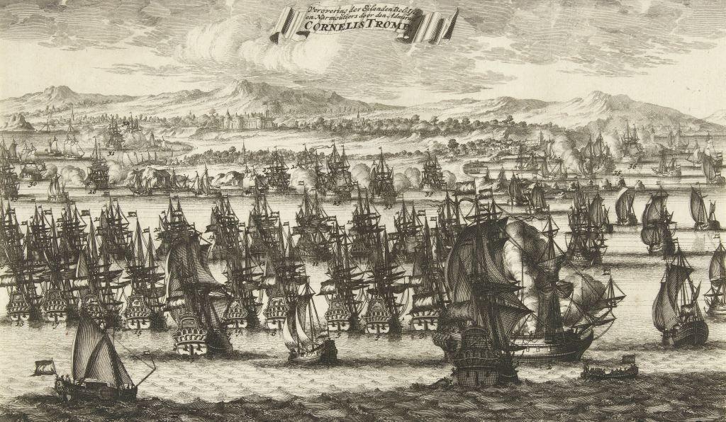 Verovering van Île de Noirmoutier door admiraal Cornelis Tromp in 1674. Ets door Bastiaen Stopendael, 1690-1692. (Rijksmuseum)