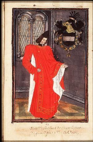 Wolfert VI van Borsele. (Wikipedia - Statuts, Ordonnances et Armorial de l'Ordre de la Toison d'Or, 1473)