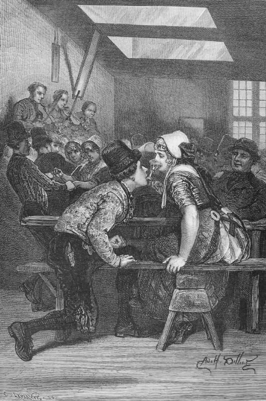 Op zwier gaan kent in de dialecten veel varianten zoals op merode zijn of de breeveertiene opgaan. (Prent A. Dillens, Zeeuwse Bibliotheek, Beeldbank Zeeland)