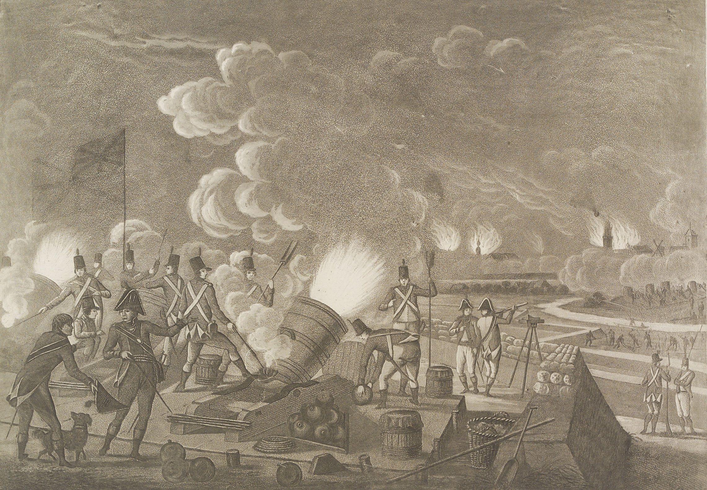 Ook Vlissingen had het tijdens de Engelse invasie zwaar te verduren; 19de-eeuwse litho.