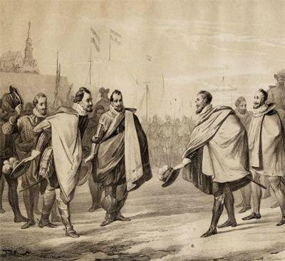 De aankomst van de graaf van Leicester in Vlissingen in 1585. Steendruk. (Gemeentearchief Vlissingen, Historisch-Topografische Atlas, nr. 23)
