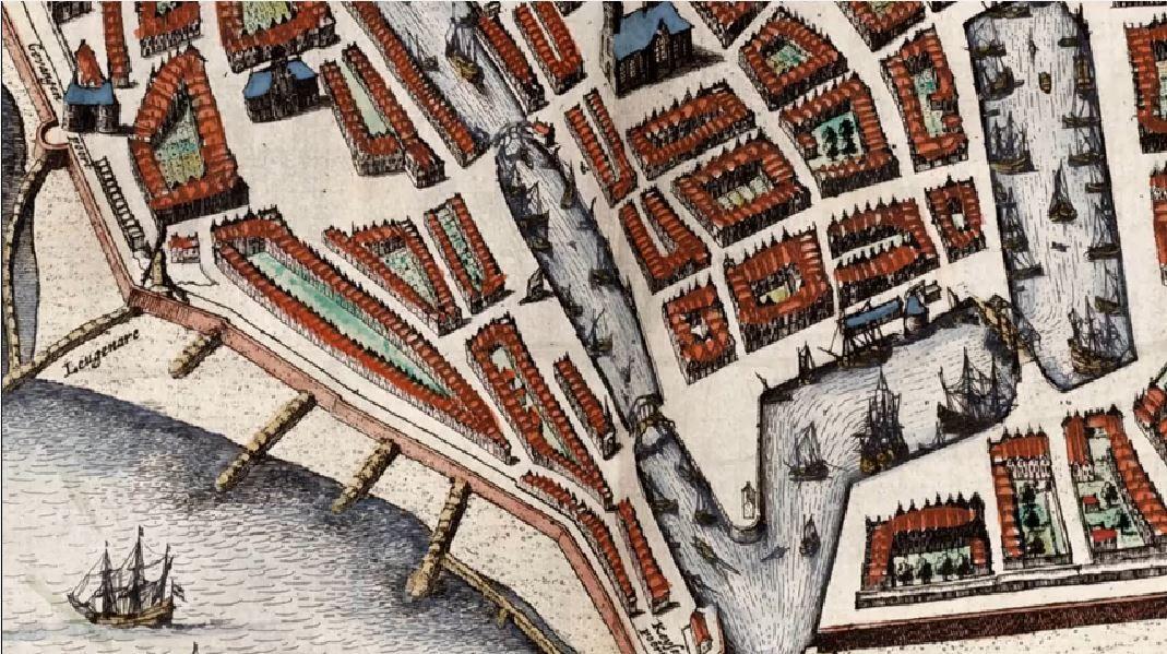 Uitsnede uit de stadskaart van Vlissingen (Atlas van Blaeu 1649)