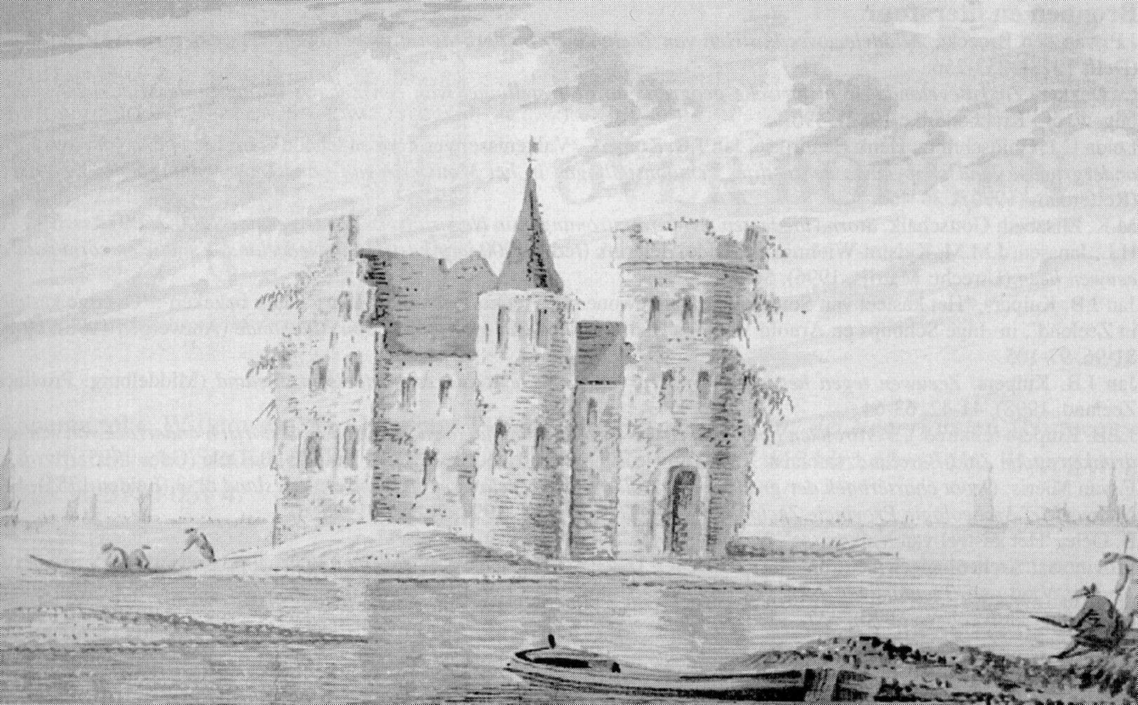 Het kasteel van Lodijke; fantastietekening uit de achttiende eeuw.