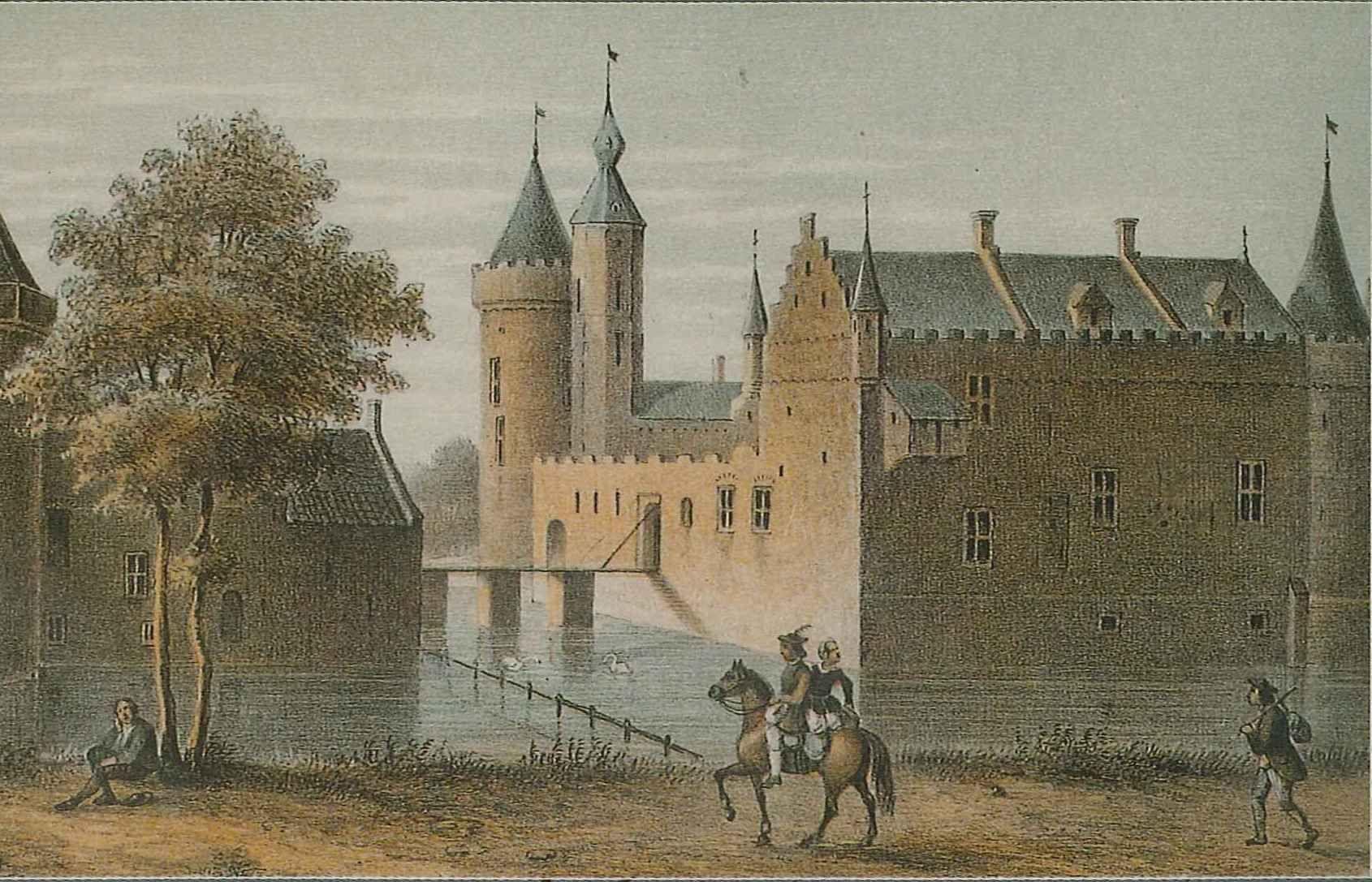 Negentiende-eeuwse litho van het kasteel van West-Souburg.