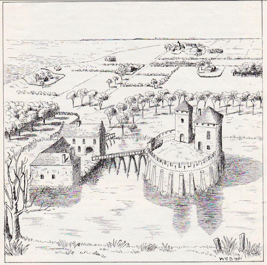 Het Borsselse kasteel in zijn hoogtijdagen. Reconstructietekening door W.C. Braat (1961).