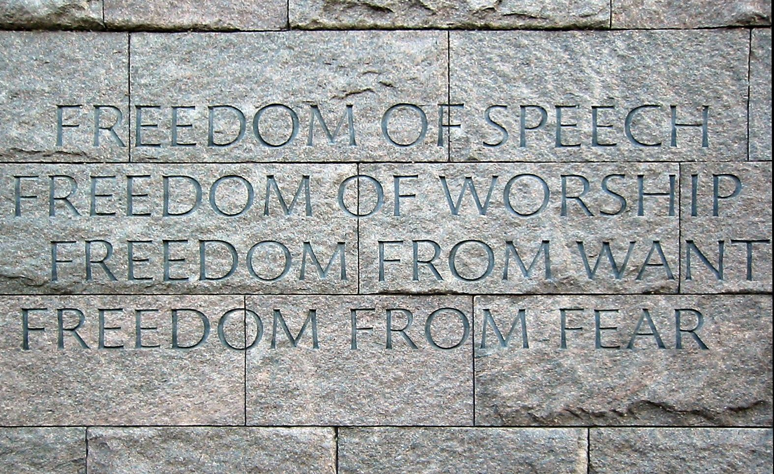 De Four Freedoms, zoals vemeld op het Franklin Delano Roosevelt Memorial in Washington.