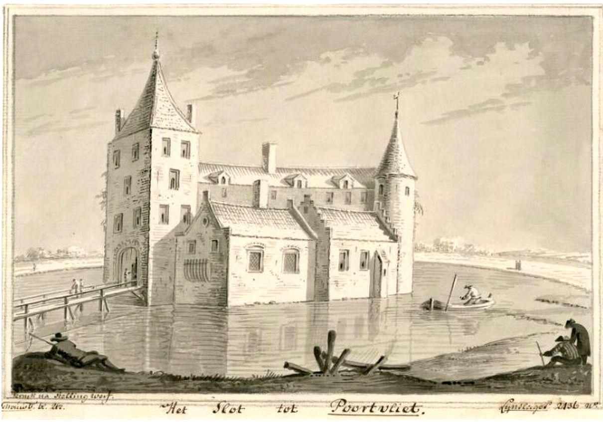 Fantasietekening van het kasteel van Poortvliet. Th. Verrijk/J. Stellingwerf, 1700-1708.
