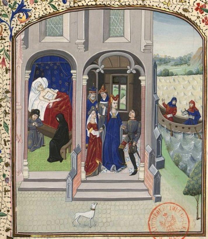 Huwelijk van Lodewijk van Loon en Ada van Holland (miniatuur uit de vijftiende eeuw).