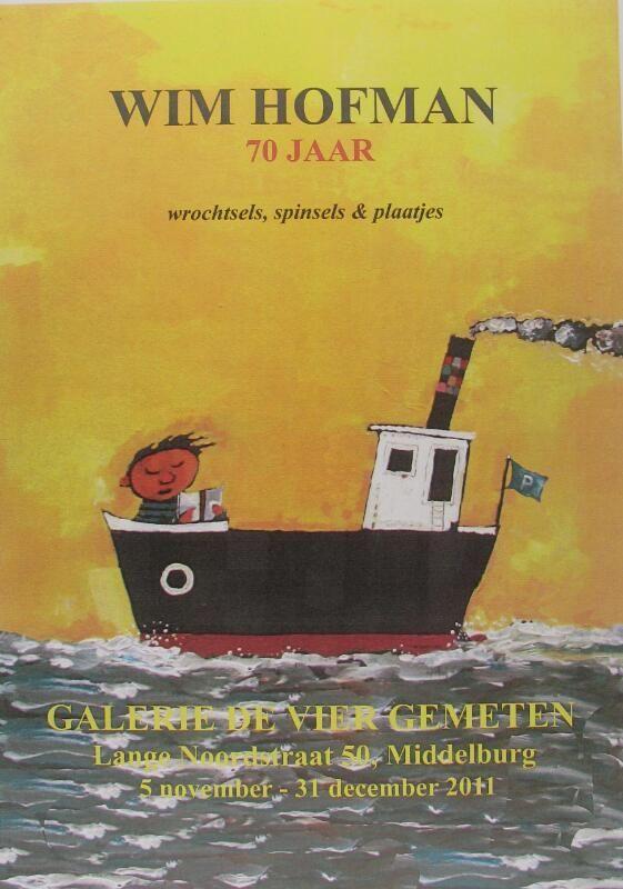 Affiche voor tentoonstelling bij zijn 70ste verjaardag. Ontwerp Wim Hofman en Joost Bakker. (ZB, Beeldbank Zeeland)