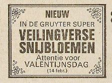 Bloemisten propageerden vanaf het begin het vieren van Valentijnsdag. Advertentie PZC, 1 februari 1967. (ZB, Krantenbank Zeeland)