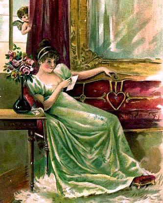 Het gebruik om Valentijnskaarten te sturen dateert uit de 18de eeuw, maar raakte pas echt in zwang in de loop van de 19de eeuw. (Detail van een Amerikaanse Valentijnskaart omstreeks 1900)
