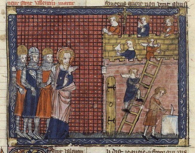 Sint Valentijn van Terni met zijn volgelingen. Parijs, 14de eeuwse uitgave.