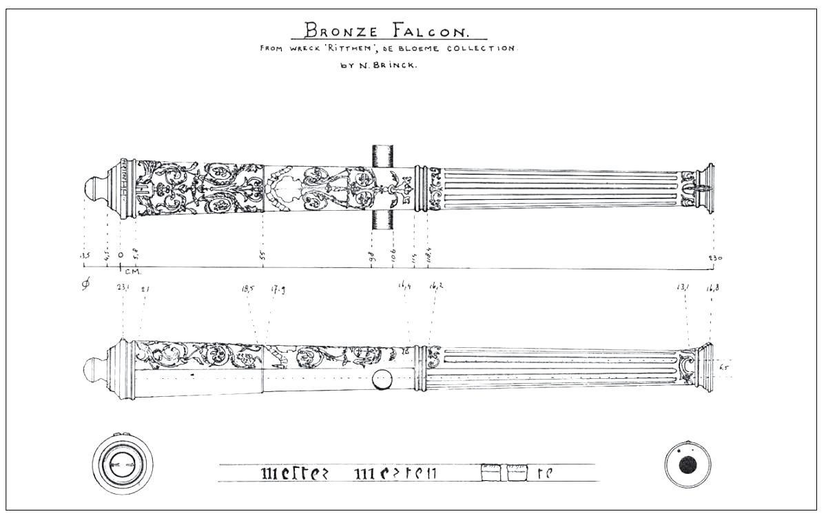 Bronzen kanon met Renaissance-versiering (Tekening Nico Brinck / RCE).