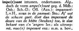 Impersant in het Woordenboek der Zeeuwse Dialecten