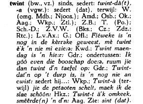 twint in het Woordenboek der Zeeuwse Dialecten