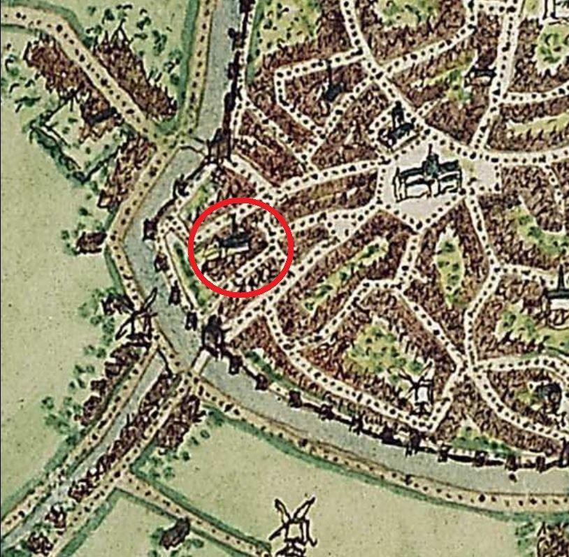 Deel van de stadsplattegrond van Middelburg door Jacob van Deventer (1545); het Augustijnenklooster is omcirkeld.