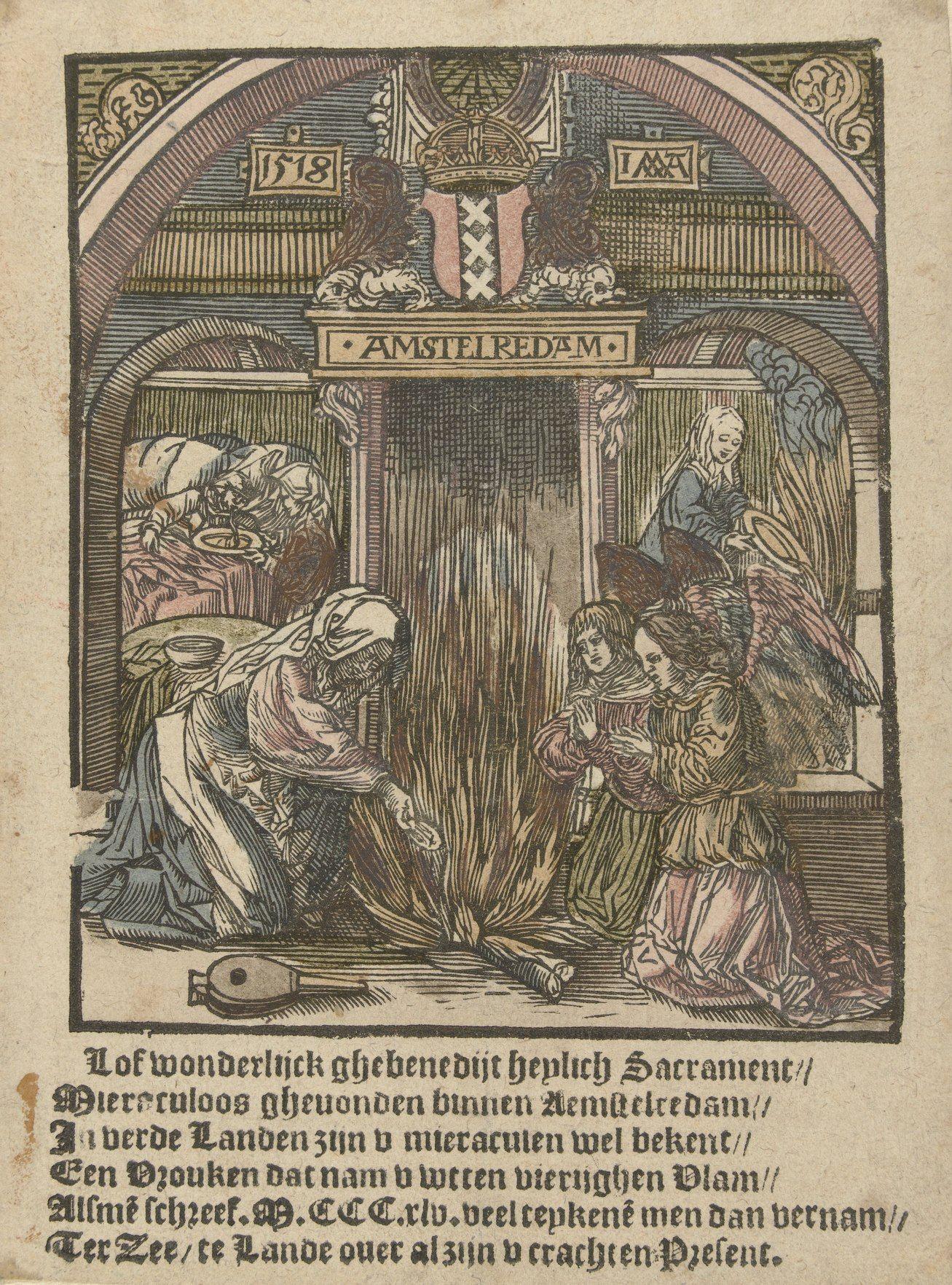 Het hostiewonder van Amsterdam; ingekleurde houtsnede door Jacob Cornelisz. van Oostsanen, 1518. Collectie Rijksmuseum, Amsterdam.