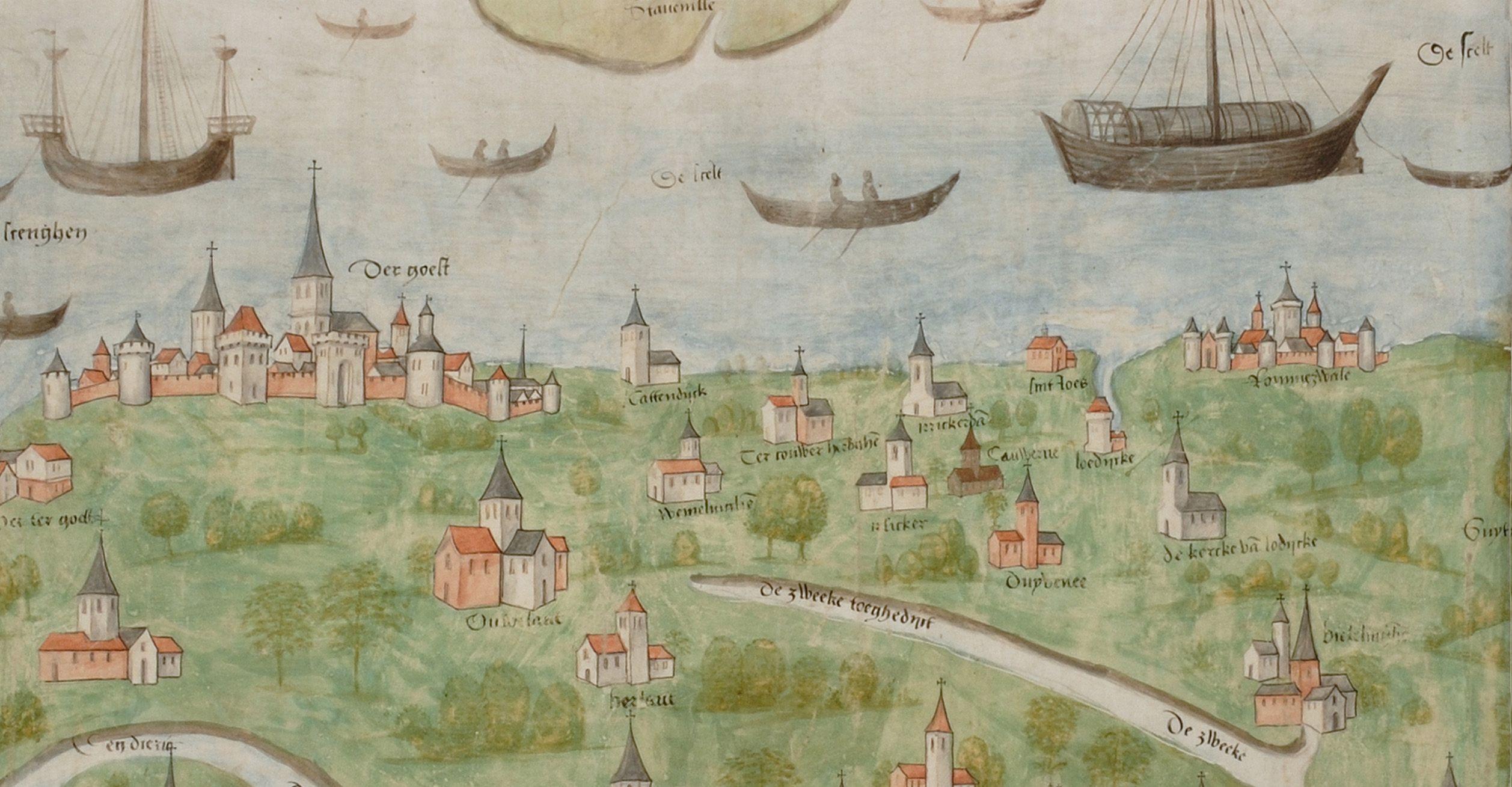 Deel van Zuid-Beveland met (topografisch niet correcte) weergave van Goes en Reimerswaal (Rommerswale); Lodijke ligt ten zuidwesten van Reimerswaal. Uitsnede Scheldekaart, 1504/05.