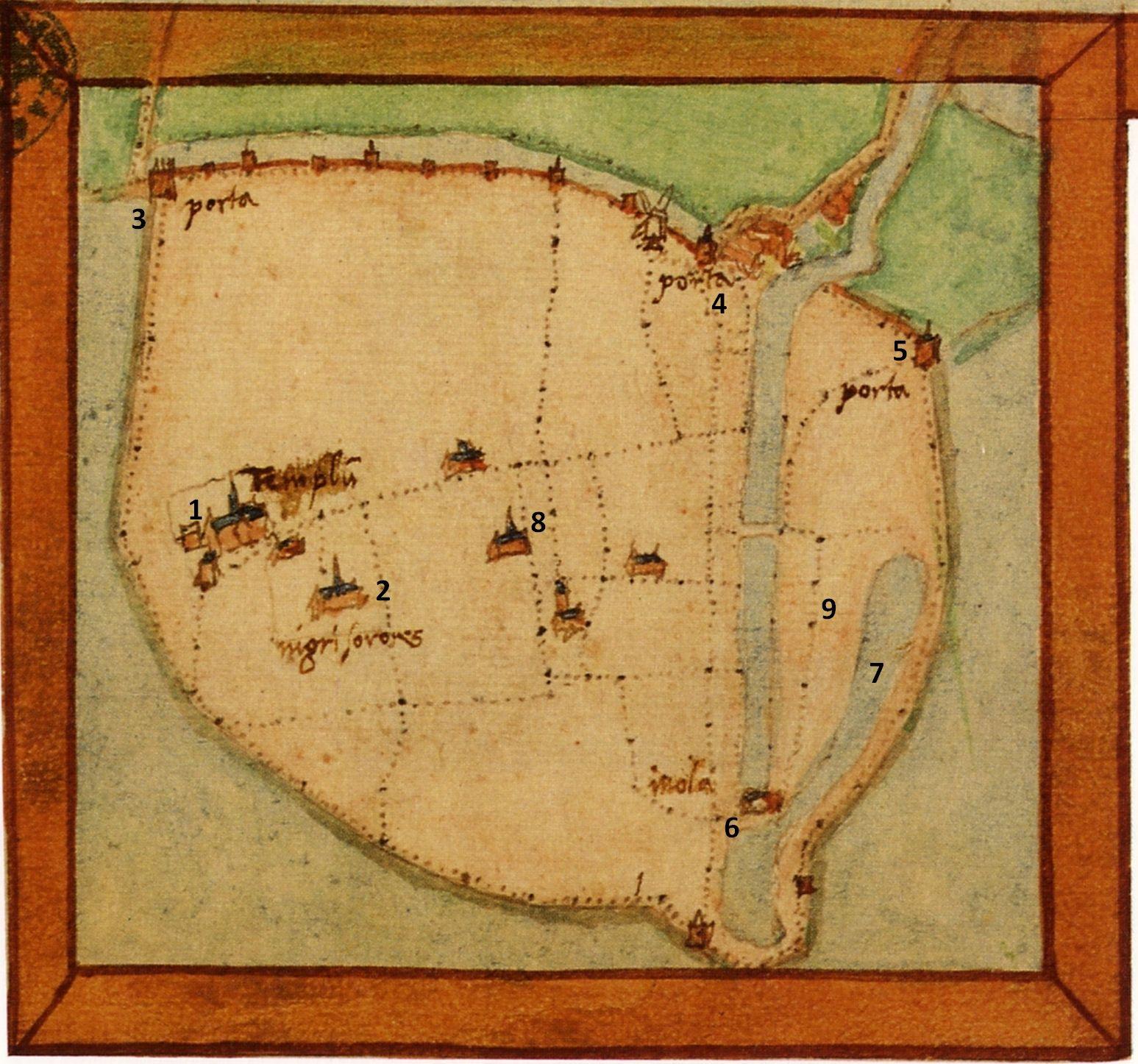 Plattegrond Reimerswaal; J. van Deventer ca. 1565. Legenda (Van der Krogt 1995): 1 Parochiekerk, 2 Klooster Cellezusters, 3 Wester- of Koepoort, 4 Noord-, Vrouwen- of Waterpoort, 5 Oost- of Wittepoort, 6 Getijmolen, 7 Molenwater, 8 Markt, 9 Zoutketen.