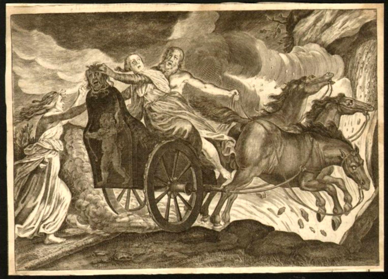Hellewagen met Medusahoofd; gravure (1677) uit een Ovidiusuitgave door Pierre Du Ryer.