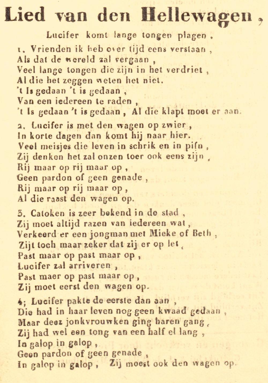 Het Lied van den Hellewagen; klucht- of straatlied uit ca. 1930.