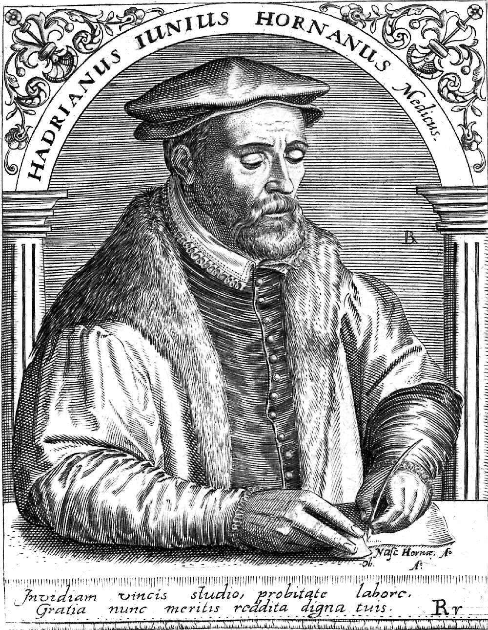 De humanistische geleerde Hadrianus Junius zou de wondersteen nog in Leiden hebben gezien. Gravure door Theodor de Bry (voor 1598).