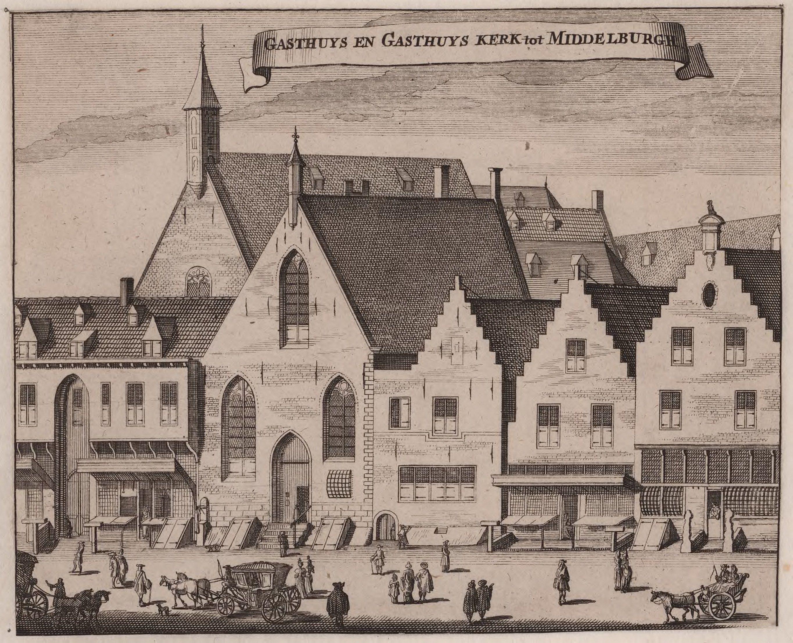 Het gasthuis in Middelburg met kerk; tweede helft zeventiende eeuw (Zeeuws Archief, Zelandia Illustrata).
