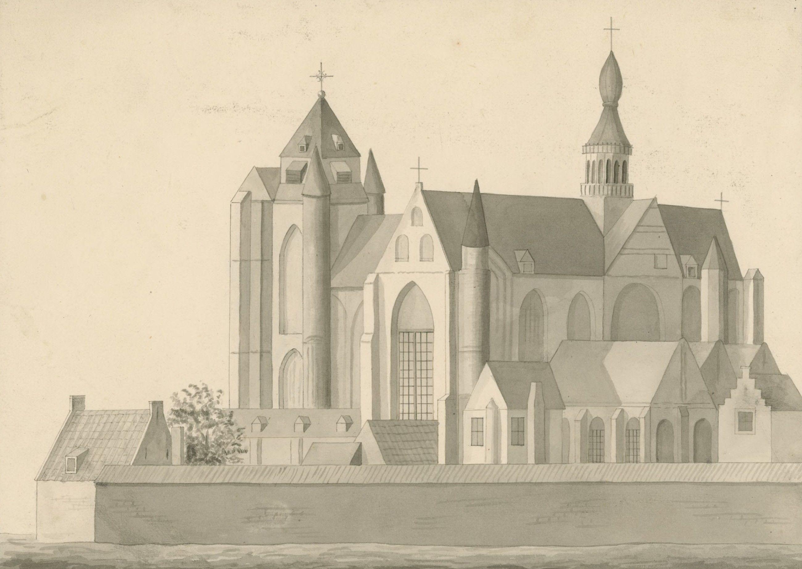 De kerk vanuit het zuidoosten gezien vóór de brand in 1686. (Zeeuws Archief, collectie Zeeuws Genootschap, Zelandia Illustrata, tekening gewassen in o.i. inkt door L.J. Dhaenens)