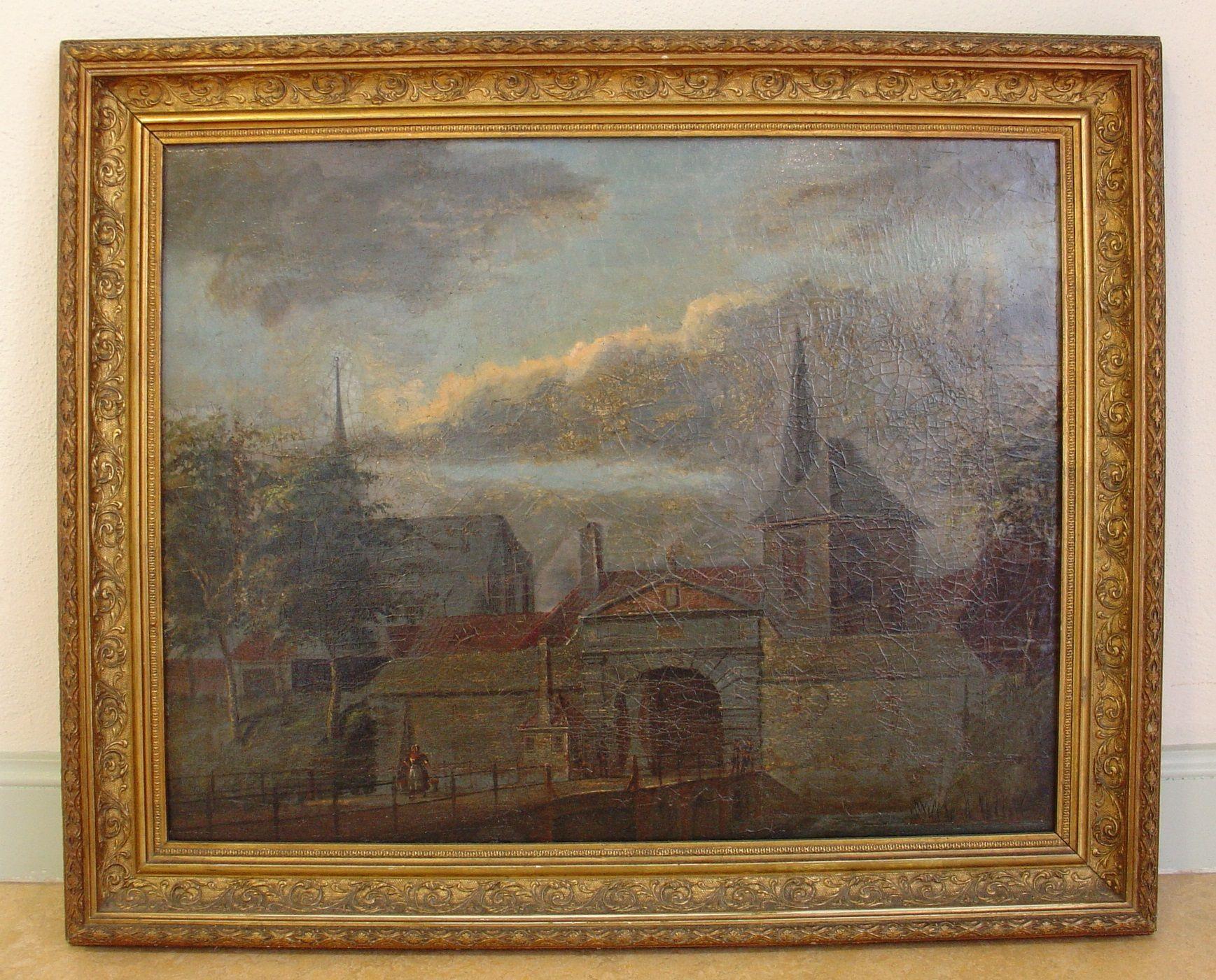 De Ganzepoort en de Ganzepoortbrug op een schilderij van Geerard Braams, ca. 1860. (Foto Historisch Museum De Bevelanden)