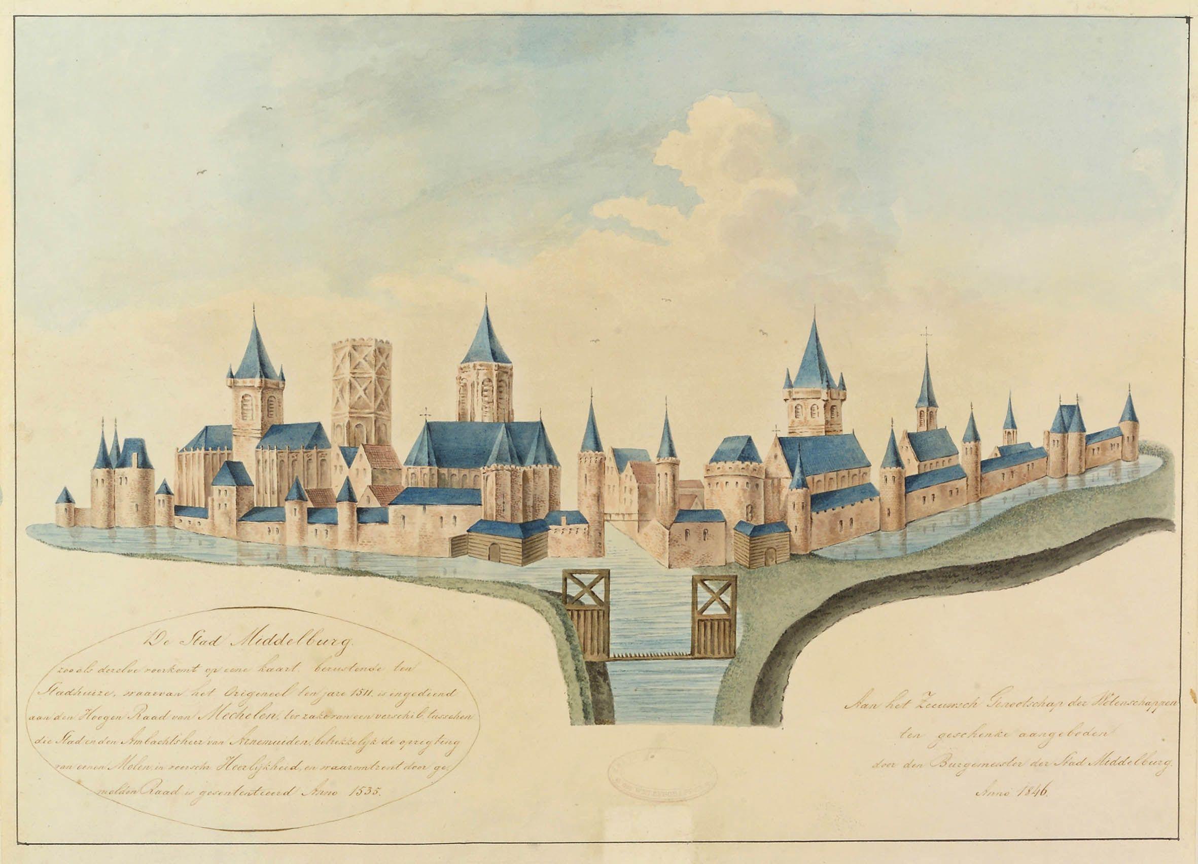 Gezicht op Middelburg uit 1511, met torens van de gestormde kerken Westmonster, Abdijkerk, Noordmonster en de donjon van het Gravensteen. Opschrift Lantsheer-Nagtglas, Zel. Ill. dl 1, p. 192 (Zeeuws Archief/Zeeuws Genootschap).