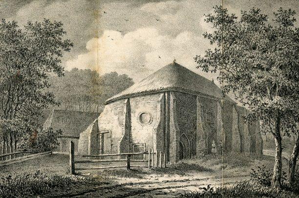 Overblijfselen van het klooster Bethlehem midden 19de eeuw. Steendruk H.J. Backer, 1839. (Beeldbank Gemeentearchief Schouwen-Duiveland)